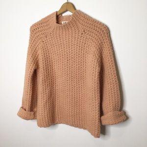 NWOT Listicle mock neck sweater peach blush